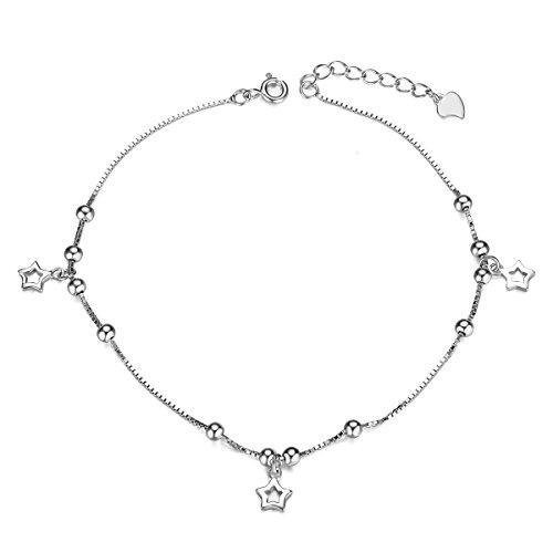 Sweetiee donna cavigliera in argento 925 con stelle e piccole perle, platino, 210mm