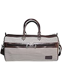 TCB White Brown Faux Leather Duffel Travel Bag