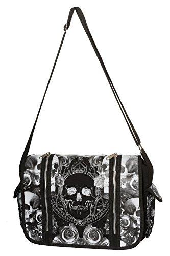 Banned Mica Gothic Alternative Messenger Bag - One Size (Pinup Messenger Bag)
