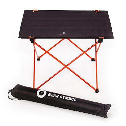 Ruitx Tragbare Camping-Seitentafeln mit Aluminium-Tisch Top: Oxford Cloth-Topped Klapptisch in Einem Beutel für Picknick, Camp, Strand, Boot,Orange -