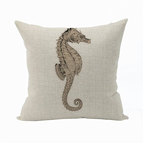 Nunubee Animal Cotton Pillowcase Linen Soft Home Square Bed Decorative Pillow Cover Hippocampus