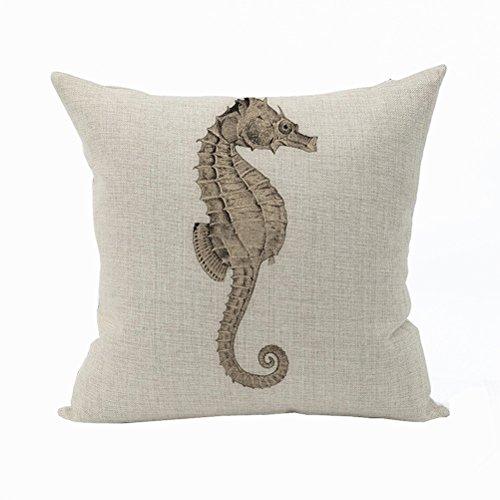 Nunubee Animal Cotton Pillowcase Linen Soft Home Square Bed Decorative Pillow Cover Hippocampus