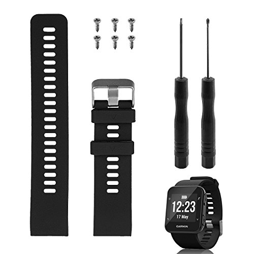 """Rukoy Band Ersatz für Garmin Forerunner 35, weiches Silikon Ersatzarmband für Garmin Forerunner 35 Smart Watch, Fit 5.56 \""""-7.96\"""" (139mm-199mm) Handgelenk (schwarz)"""