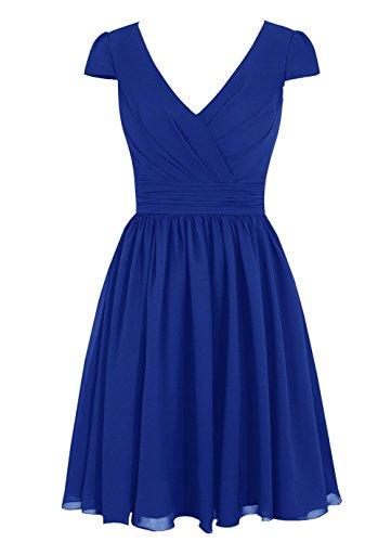 CoutureBridal® Kleid Damen Abendkleider Brautjungfernkleider Kurz Chiffon Ausschnitt V blau saphir