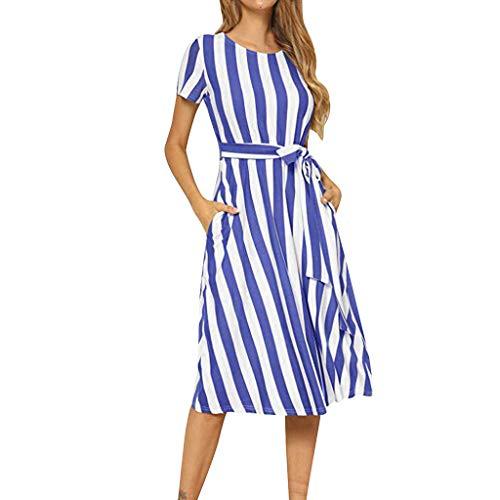 Huarll Damen Fliege Taille Kurzarm T Shirt Fashion gestreift lässig fließendes Midikleid mit Gürtel mit Taschen - Blau - Groß