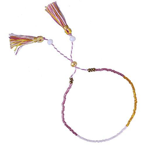 Handgewebt Mischen Farbe Orange/Grün/Rose Gold Wulstig Armbänder mit Medaillon Quasten, Rot/Weiß (T-shirt Gold-grünes)