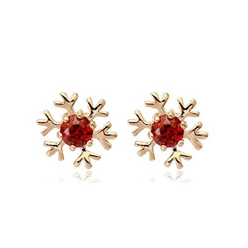 Cute oro rosa 18 K, con motivo a fiocchi di neve rosso Siam-Orecchini a perno (Swarovski Crystal Fiocchi Di Neve)