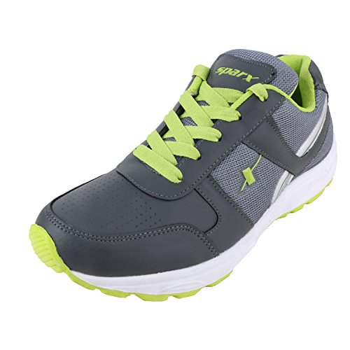 Sparx Men's Sx0503g Series Dark Grey Fluorescent Green Synthetic Leather Sports Shoes