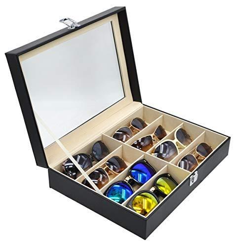 Brillenbox mit Schaufenster aus Glas für 8 Brillen Brillendisplay Brillenorganizer Brillenaufbewahrung / Präsentation - Kunstleder Schwarz - 33.5 x 24.5 x 8.5 cm Sonnenbrillen Präsentation