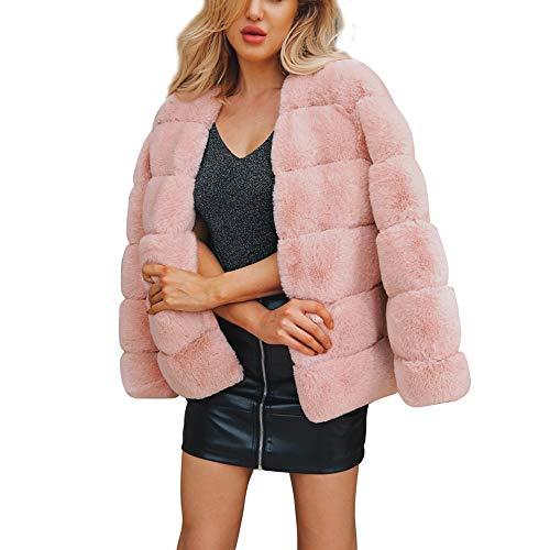 Damen Mantel MYMYG Winter Elegant Warm Faux Fur Kunstfell Jacke Kurz Mantel Coat Warm Winterjacke Kurz Felljacke(Rosa,EU:38/CN-L) - Kurze Kunstfell-mantel