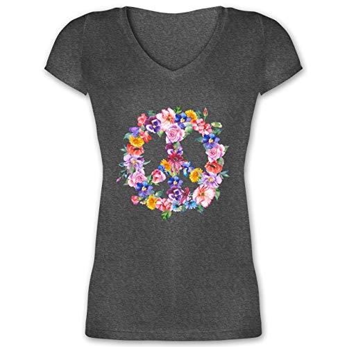 Statement Shirts - Peace Zeichen mit bunten Blumen - M - Anthrazit meliert - XO1525 - Damen T-Shirt mit V-Ausschnitt -