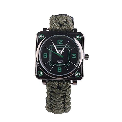 UltraGood Outdoor Survival Multifunktions-Uhr, Survival-Set, Armband, Seil + Pfeife + Kompass + Anzünder, zum Wandern, Klettern, für Camping, Erste Hilfe (Armee-Grün)