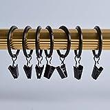 Musuntas, 30pezzi,clip per tenda con anello di diametro di 35 mm, multiuso, per tenda, per asta tenda, anello per tenda con clip, colore nero