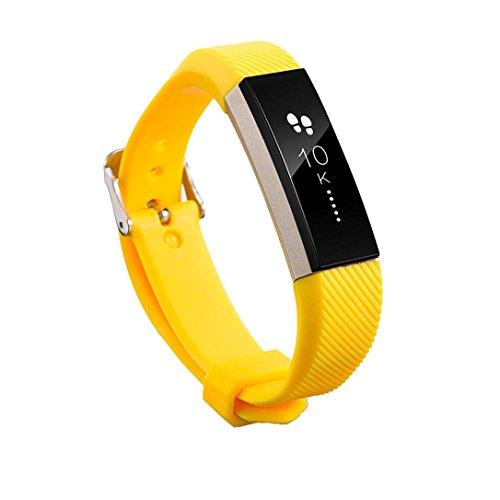 Fitbit Alta HR armband, SHOBDW Ersatz-Armband-Silikon-Armband-Verschluss für Fitbit Alta HR-Armbanduhr (Gelb, 160-220mm)