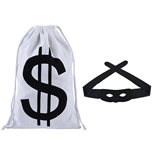 Funpa Einbrecher Kostüm, Bandit Räuber Dieb Kostüm Cosplay Maskerade Maske Karneval mit Black Eye Maske + Geldsack Spielzeug Party Favors für Kindertag, Geburtstagsfeier