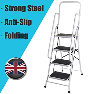 Autofather 4 Step Ladder with Handrail Support Safety Non Slip Mat Heavy Duty Steel Folding Portable Stepladder Kitchen Stool Home Garden Tool DIY