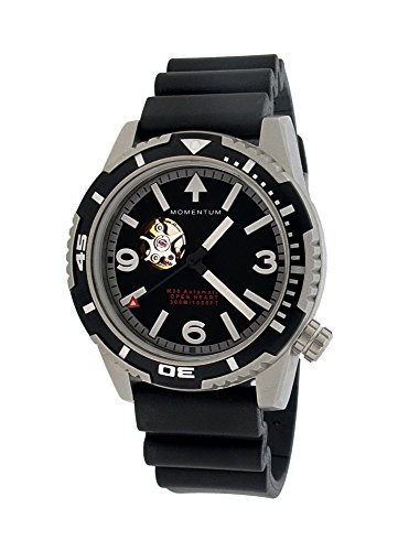 Momentum Men's Japanese Automatic Stainless Steel and Rubber Diving Watch, Color:Black (Model: 1M-DV32B1B)