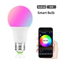 Smart WiFi Light Bulb LED RGB Color Changing Compatible with Amazon Alexa and Google Home Assistant No Hub Required