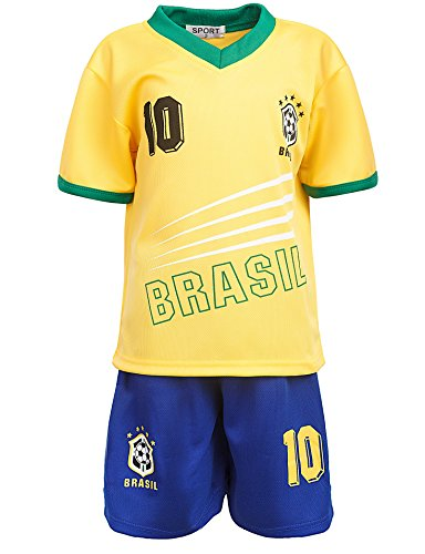 24brands - Jungen Fußball Set 2 Teilig Trainings Trikot Deutschland Italien Brasilien Spanien Türkei Schweiz Ländertrikot - 2630, Größe:92-98;Farbe:Brasilien