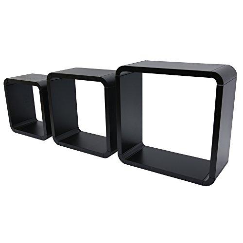 DURAline Étagère 3 Cubes, Noir, 15 x 35 x 35 cm, Lot de 3