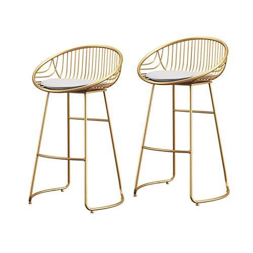 Zurück Stühle, Hocker (NMDB Barstuhl Goldene Moderne Einfache Eisen Barhocker Bar Esstisch Stuhl Home Zurück Stuhl Hocker (60/65/70/75 cm) (Farbe : Gold*2, größe : 60cm))