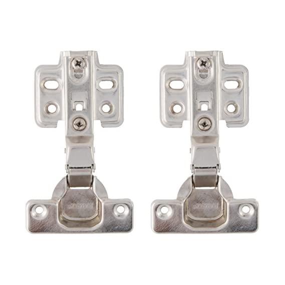 Aimtifit Concealed Hinges Iron Fix Type Nickel Plated Full Overlay 0 Crank/Degree Pack of 2 Pcs (0 D_P2_240)