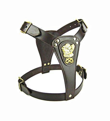Avon Pet Products Staffordshire Bull Terrier Motif Leather Dog Harness, Brown