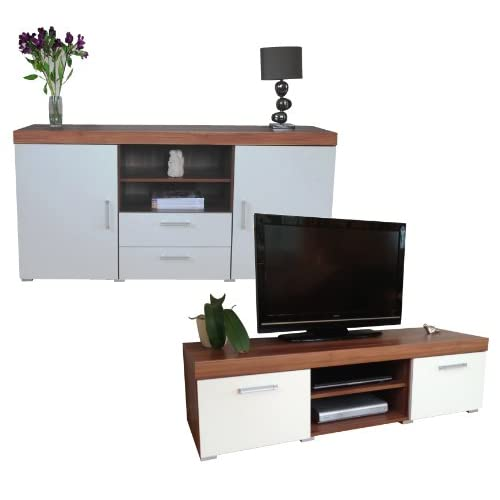 Sydney White & Walnut Large Sideboard & TV Cabinet 140cm Unit Living Room Furniture Set
