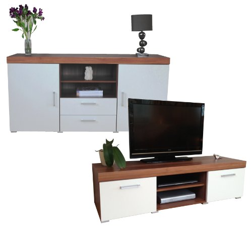 white walnut sydney large sideboard tv cabinet 140cm unit living
