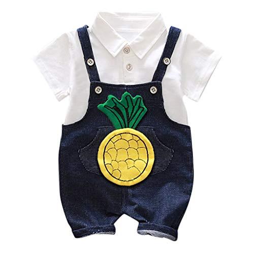 Lookhy Kinder Kurzarm gestreift Herren und Damen Baby Sommer Kurzarmband zweiteilig Baby Kleidung, Kids Baby Jungen Outfits Set Letter T Shirt Tops+Camouflage Shorts Baby Snap T-shirt