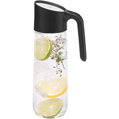 WMF Nuro Wasserkaraffe, 1,0 l, mit Griff, Höhe 29,7 cm, Glas-Karaffe, CloseUp-Verschluss, schwarz