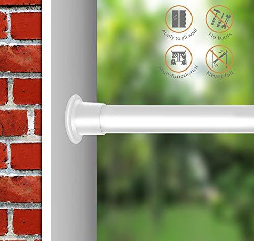 Allzone Tension des ressorts réglable Rideau douche de salle de bain fenêtre de douche 42–215,9 cm, Medium, Acier, sans perçage, antirouille, lot de 6 crochets en forme de S antirouille, Acier, blanc, 70-110cm