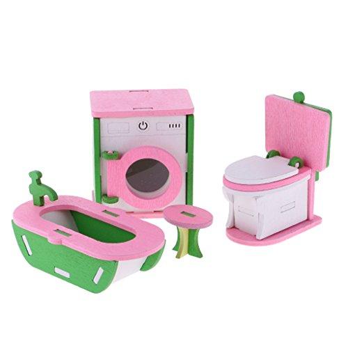 MagiDeal 4pcs Maison de Poupées Mobilier Bois Meubles Cuisine Chambre Dollhouse Semblant Jouet Enfant - Divers - #3