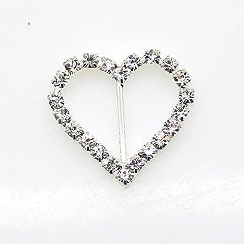 35 Stück 25 mm x 20 mm Herz Form Strass Schnalle Slider für Hochzeit Einladung Buchstabe