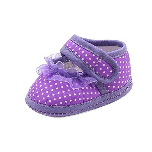 BOBORA Chaussures Souples Bebe Filles Chaussures Bowknots Polka Dots en Coton B-Violet