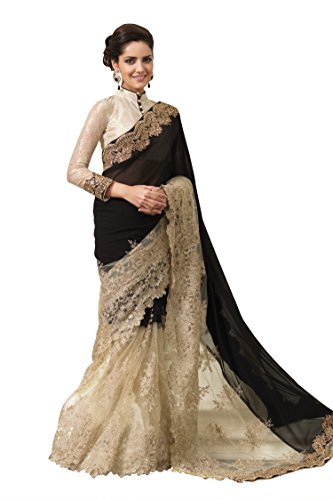 Chirag Sarees Synthetic Saree (2446-A_Black)