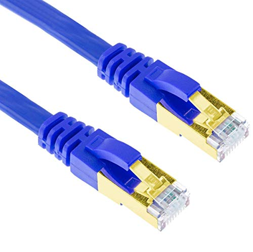 G-Shield 10m Cat7 Ethernet LAN Kabel 10 Gigabit 600MHz RJ45 Flachkabel - 10 Meter Blau Flat Component-video-kabel