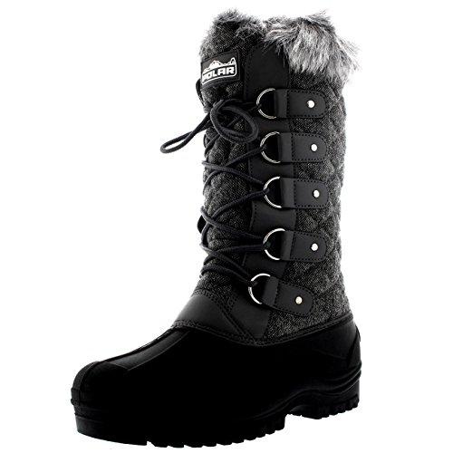 Polar Damen Tall Gesteppt Pelz Gefüttert Schnee Taktisch Berg Wasserdicht Knie hoch Gehen Stiefel - Grau Textil - UK4/EU37 - YC0362