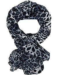 161ba1460a2bb2 Ella Jonte Leopard XXL Schal grau schwarz Viskose Trend Leo Schal Animal  Print