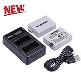LP-E8 Chargeur de Batterie LP-E8 Pack de 2 Batteries de Remplacement avec Chargeur Double USB pour Canon EOS Rebel T3i, T2i, T4i, T5i, EOS 600D, 550D, 650D, 700D, Kiss X5, X4, Kiss X6, LC-E8E