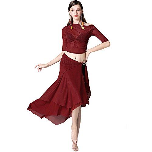 Moderne Kostüm Indische Tanz - Q-JIU Frauen Bauch Indischer Tanz Kostüm Top Trash Set,Brown,M