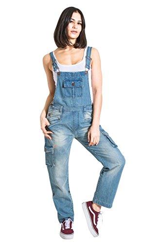 USKEES Damen-Latzhose - Repair Detail Verstellbare Beinlänge Mode Latzhose Denim DAISYREPAIR-14