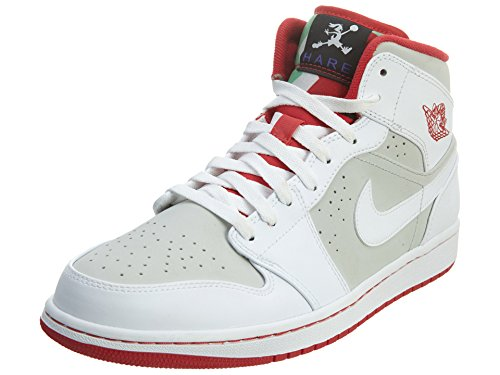 Nike Air Jordan 1 Mid Wb, Chaussures de Sport Homme Multicolore - Blanco / Rojo / Gris (White / True Red-Lght Silver-Blk)