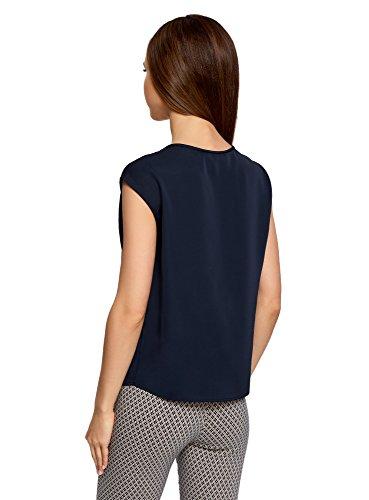 oodji Collection Femme Top en Tissu Épais Encolure Goutte d'Eau Bleu (7900N)