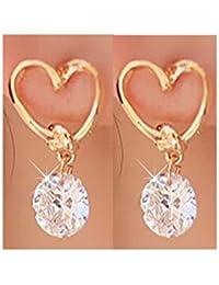 Glitz Womens Love Heart Fine Zircon Dangle & Drop Earrings - Fashion Jewelry