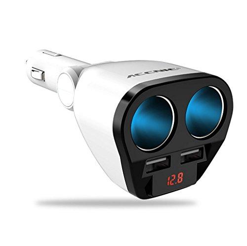 ZYX Auto Zigarettenanzünder 12 V/24 V 120 Watt Auto Auto USB Adapter Buchse Splitter Konverter 5 V 1A/2,4A Auto Spannung Diagnose Display,White