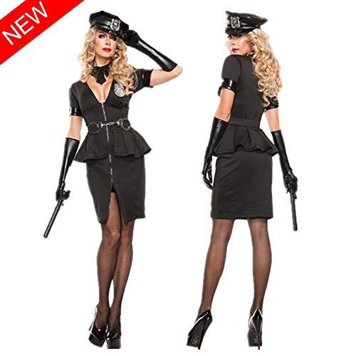 Kostüm Female Sexy Police - TSMDHH Female Sexy Police Kostüm Adult Halloween Club Polizeiuniform Uniform Temptation Set, Schwarz