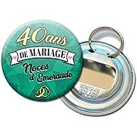 Porte Clés Décapsuleur 5,6 centimètres 40 Ans de Mariage Noces d' Émeraude Idée Cadeau Accessoire Accessoire Anniversaire Mariage Couple