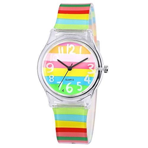 Zeiger First Time Teacher Young Little Girls Watch Easy Read Watches for Kids Rainbow Watch for Children