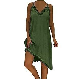 c413133e51ff Dragon868 Vestito Donna Eleganti Dress Senza Maniche Pizzo Brasiliana  Taglie Forti 5XL Irregolare Orlare Mare Spiaggia ...